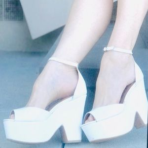 JEFFREY CAMPBELL white platform HEELS wedge sandal